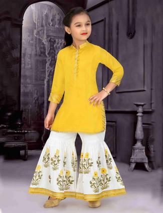 Cotton yellow punjabi sharara suit