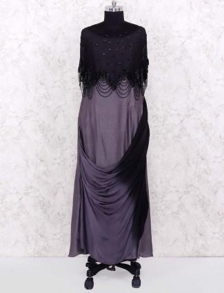 Cowl style grey color designer salwar suit in cotton silk