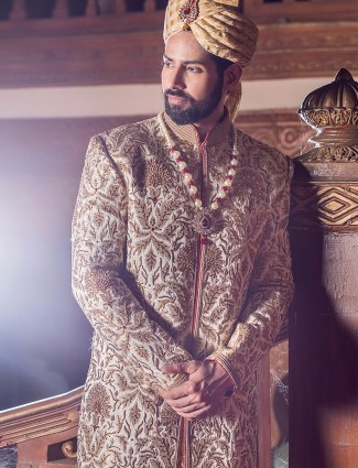 Cream alluring jamawar designer sherwani