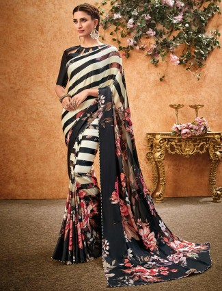 Cream and black crepe ironing stone work saree
