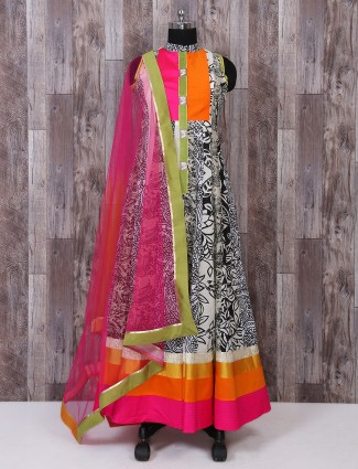 Cream and black linen fabric printed anarkali suit