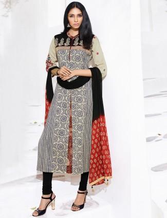 Cream and black printed silk salwar suit