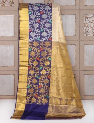 Cream and blue kanchipuram pattu bridal saree