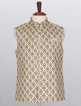 Cream and brown silk waistcoat