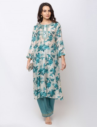 Cream and green cotton palazzo suit