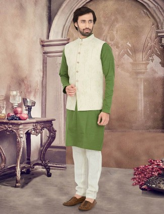 Cream and green cotton silk waistcoat set for mens