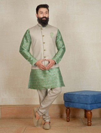 Cream and green hue printed waistcoat set