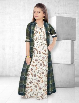 Cream and green printed long salwar suit