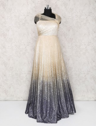 Cream and grey party wear classic gown