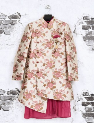 Cream and magenta color indo western