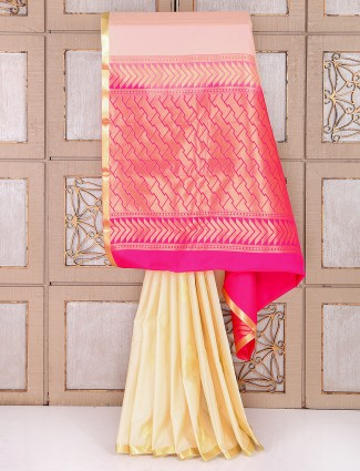 Cream and magenta color semi silk saree