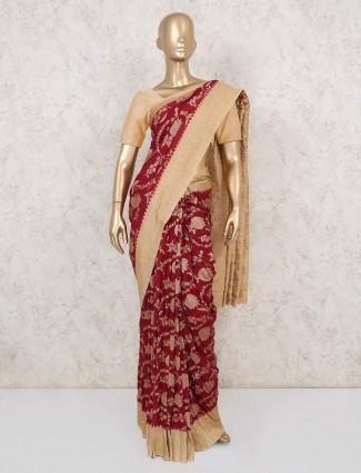 Cream and maroon muga silk saree for wedding