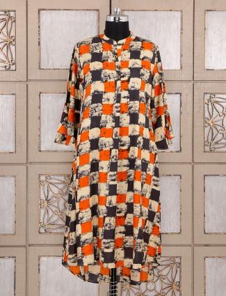 Cream and orange cotton kurti