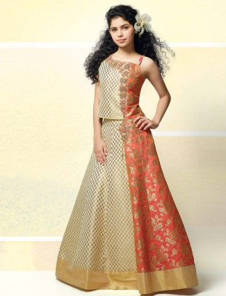 Cream and orange designer wedding lehenga choli