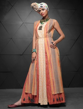 Cream and orange long kurti