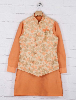 Cream and orange printed party wear waistcoat set