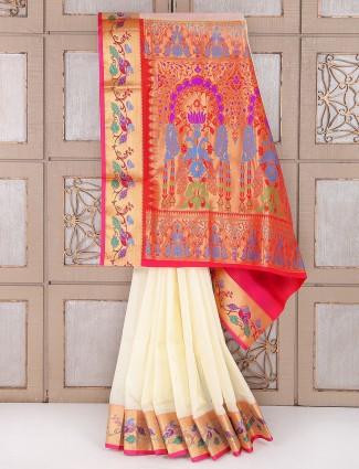 Cream and pink color semi silk festive saree