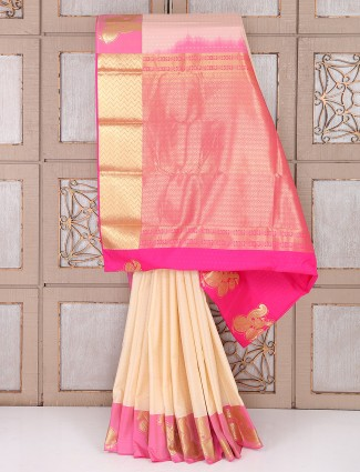 Cream and pink color semi silk saree