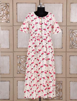 Cream and pink cotton printed kurti