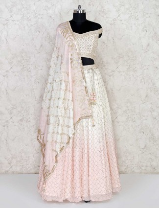 Cream and pink georgette wedding lehenga choli