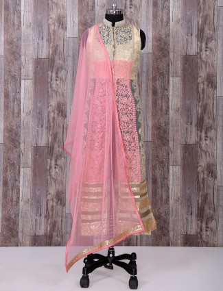 Cream and pink net fabric palazzo suit