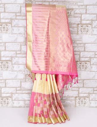 Cream and pink semi silk saree
