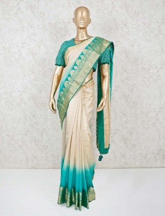 Cream and rama gradient saree witth the readymade blouse