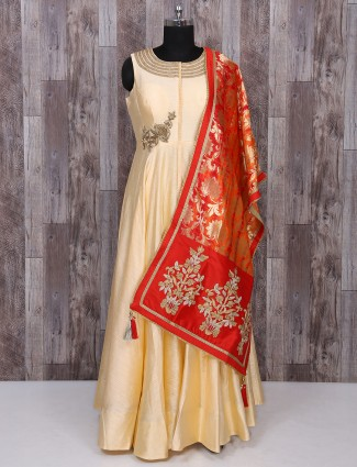 Cream and red anarkali suit
