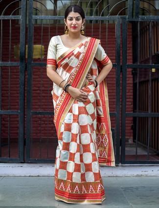 Cream and red banarasi silk saree
