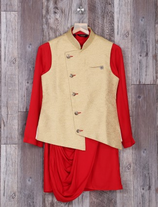 cream and red color two piece waistcoat set for wedding function
