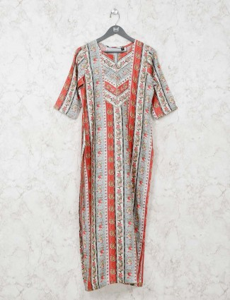 Cream and red printed cotton kurti