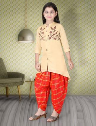 Cream and red punjabi dhoti suit