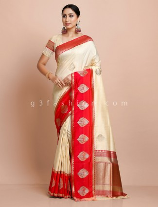 Cream and red semi silk saree for wedding