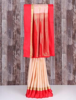 Cream and red silk royal saree