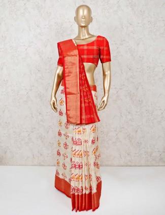 Cream and red thread weaving Hyderabadi patola silk saree