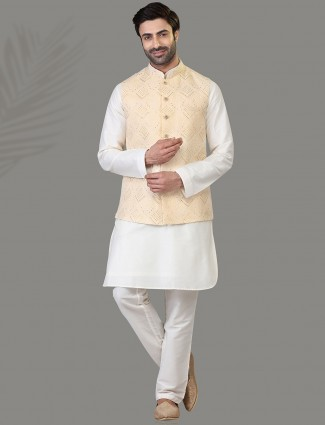 Cream and white lucknowi thread woven silk mens waistcoat set