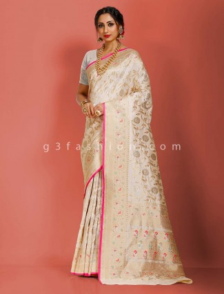 Cream art banarasi silk wedding function saree