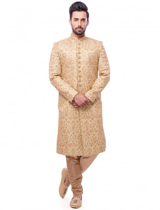 Cream attractive silk wedding wear sherwani