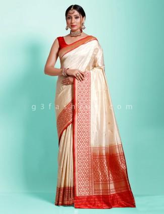 Cream banarasi silk designer traditional wear saree