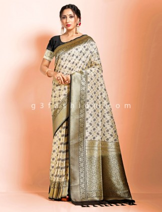 Cream black art banarasi silk wedding saree