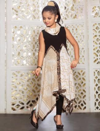 Cream black crepe designer salwar suit