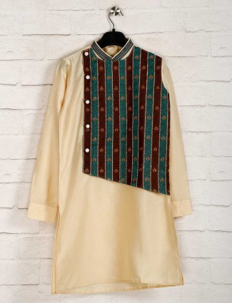 Cream boys kurta suit in cotton