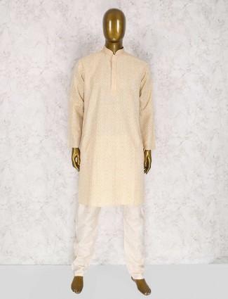Cream color cotton festive kurta suit