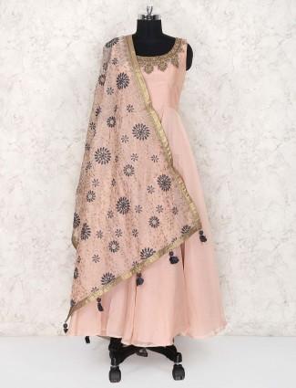 Cream color cotton silk floor length anarkali suit