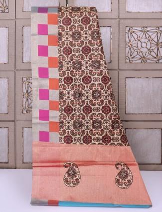 Cream color cotton tussar saree