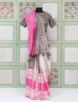 cream color designer festive wear saree
