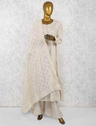 Cream color festive palazzo suit in cotton