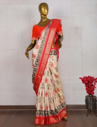 Cream color festive wear patola saree
