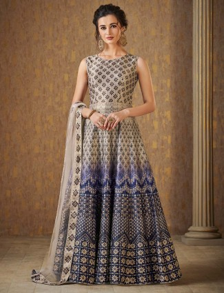Cream color floor length cotton silk anarkali suit
