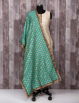 Cream color jute cotton salwar suit